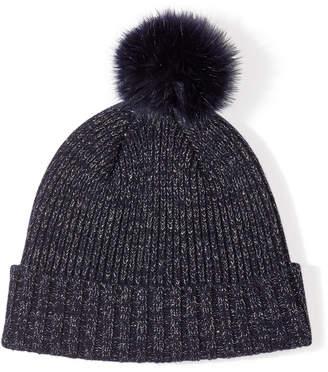 Jigsaw Lurex Wool Faux Fur Pom Hat