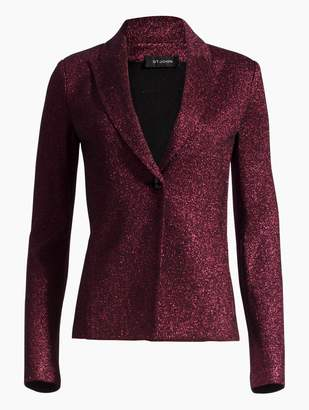 St. John Mod Metallic Knit Notch Collar Jacket