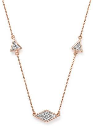 """Adina 14K Rose Gold Pavé Diamond Triangle Necklace, 12.5"""""""