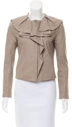 Diane von Furstenberg Leather Ruffle Jacket
