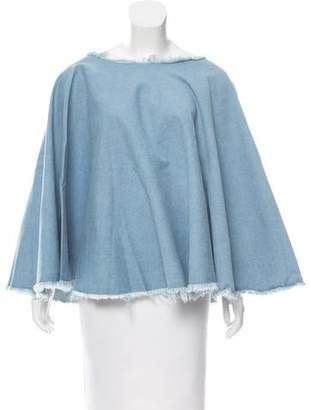 Donni Charm Raw-Edge Denim Poncho w/ Tags