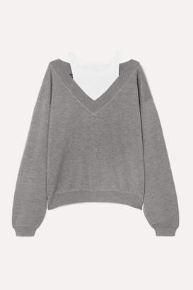Alexander Wang Cropped Layered Wool And Stretch-cotton Jersey Sweater - Light gray