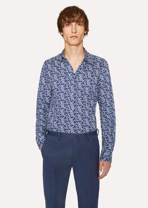 Paul Smith Men's Slim-Fit Navy 'Cherry Blossom' Print Shirt