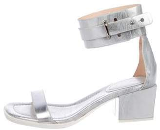 3.1 Phillip Lim Leather Ankle-Strap Sandals Silver Leather Ankle-Strap Sandals