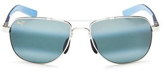 Maui Jim Men's Guardrails Polarized Brow Bar Aviator Sunglasses, 58mm