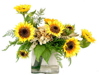 Creative Displays, Inc. Sunflower and Fern Leaf Wrapped Bouquet Glass Vase