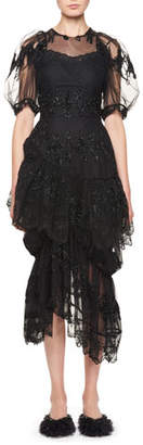 Simone Rocha Asymmetric Ruffled Cocktail Dress with Fuzzy Doll Embroidery