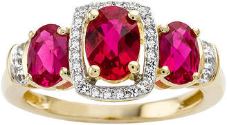 JCPenney FINE JEWELRY Lab-Created Ruby and White Sapphire 14K Yellow Gold Over Sterling Silver 3-Stone Ring