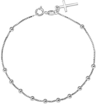 Italian Silver Beaded Cross Dangle Bracelet Sterling, 2.5g