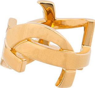 Saint Laurent Gold Monogram Ring