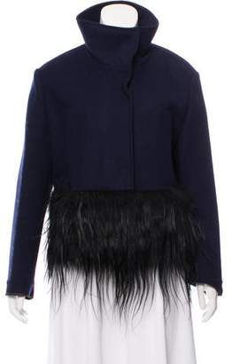 Prada Fur Trim Wool Jacket