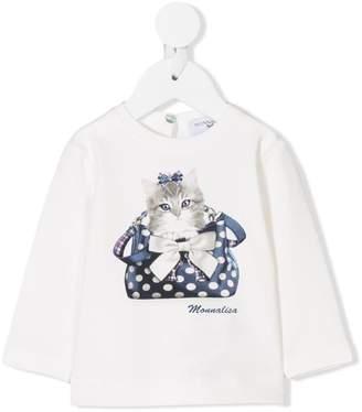 MonnaLisa kitten print longsleeved T-shirt