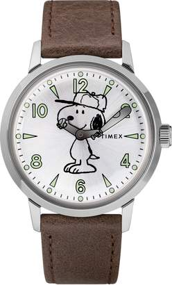 Timex R) x Peanuts(R) Welton Vintage Snoopy Leather Strap Watch, 40mm