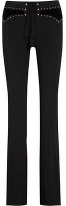 Roberto Cavalli Embellished Velvet-Paneled Stretch-Cady Flared Pants