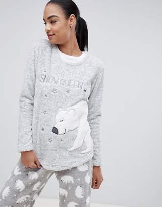 Hunkemoller Polar Bear Snow fleece long sleeve pyjama sweater in gray