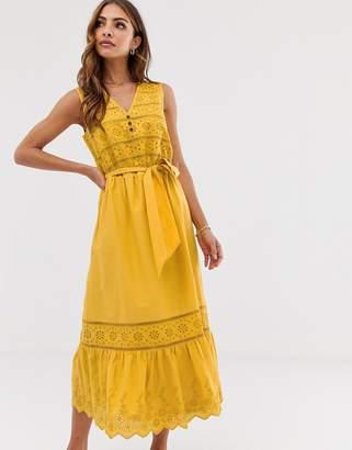 Esprit broderie tie waist midi dress in yellow