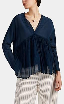Pas De Calais Women's Cotton-Silk Voile Empire Blouse - Blue