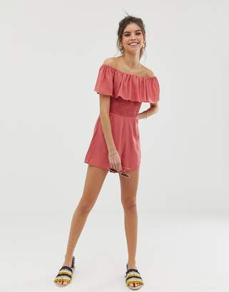 4d4b84ec11 Asos Design DESIGN off shoulder ruffle playsuit with shirring