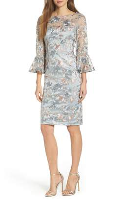 Eliza J Floral Embroidered Sheath Dress