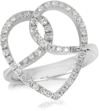 Forzieri Diamond Crossing Heart 18K White Gold Ring