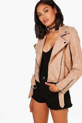 boohoo NEW Womens Premium Faux Suede Biker Jacket in Polyester
