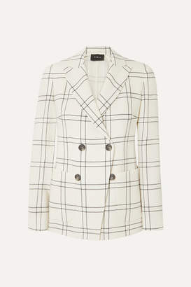 Akris Danita Checked Wool And Cotton-blend Crepe Double-breasted Blazer - Ivory