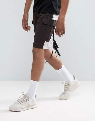 Asos DESIGN Drop Crotch Shorts With Contrast Panels And Strapping Detail