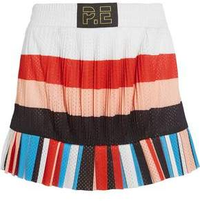 P.E Nation The Heat Pleated Striped Mesh Mini Skirt