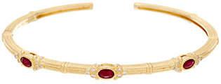 Judith Ripka Ruby, Emerald or Sapphire&Diamond Cuff Br