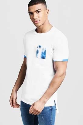 boohoo Step Hem Roll Sleeve T-Shirt With Tie Dye Pocket