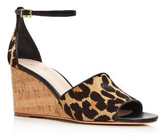 Kate Spade Women's Lonnie Leopard Printed Calf Hair Wedge Sandals