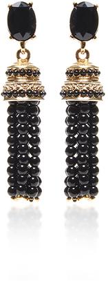 Oscar de la Renta Black Beaded Tassel Earrings $450 thestylecure.com