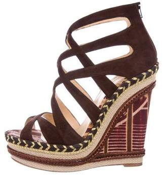 Christian Louboutin Suede Caged Wedges