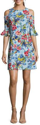 Nicole Miller Floral-Print Cold-Shoulder Sheath Dress