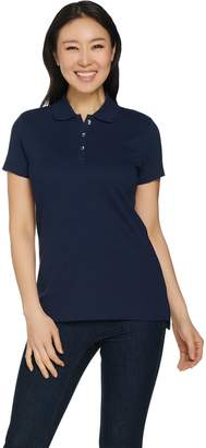 Halston H By H by Short Sleeve Rib Knit Polo