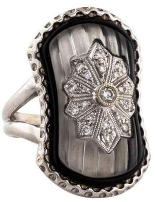 Ring 18K Diamond & Camphor Glass