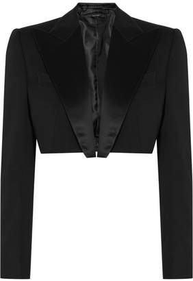 Tom Ford Cropped Silk Satin-trimmed Wool Tuxedo Jacket - Black
