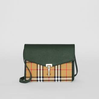 Burberry Small Vintage Check and Leather Crossbody Bag, Green