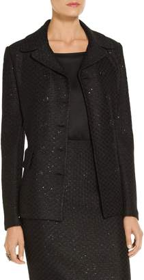 St. John Shimmer Sequin Knit Double Breasted Jacket
