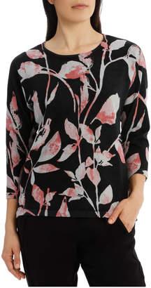 Jump 7/8 Dolman Sleeve Printed Leaf Pullover