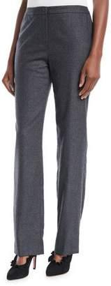 Escada Tobata Straight-Leg Flannel Wool Pants