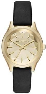 Karl Lagerfeld Janelle Leather Strap Watch