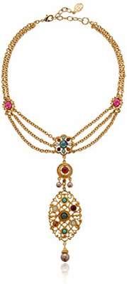 Ben-Amun Jewelry Boheme Multicolor Stone Crystal Moonstone Choker Pendant Pearl Drop Necklace