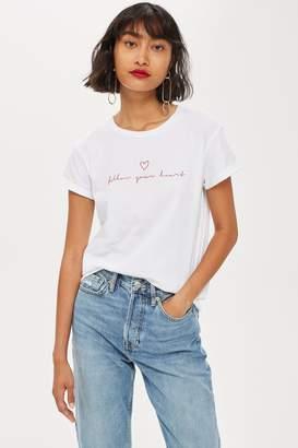 Topshop 'Follow Your Heart' Slogan T-Shirt