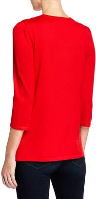 Neiman Marcus Lace-Up Grommet Detail V-Neck Top