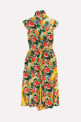 Prada Floral-print Silk-crepe Midi Dress - Orange