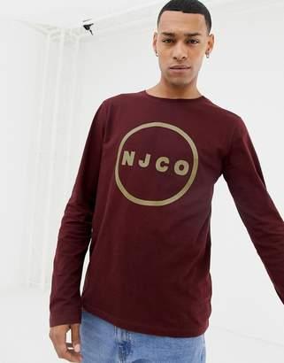 Nudie Jeans Orvar long sleeve logo t-shirt in plum