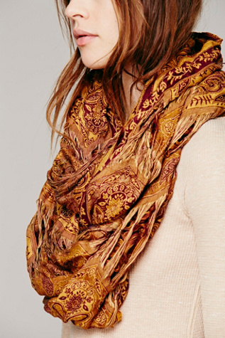 Free People Tattered Paisley Loop Scarf