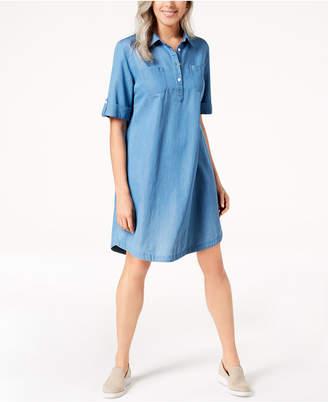 Karen Scott Petite Cotton Chambray Shirtdress