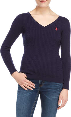 U.S. Polo Assn. V-Neck Cable Knit Sweater